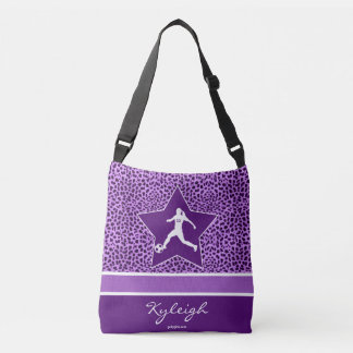 Personalized Soccer Purple Cheetah Print Crossbody Bag