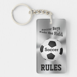Personalized Soccer Team Gifts for Boys Name Rectangular Acrylic Key Chains