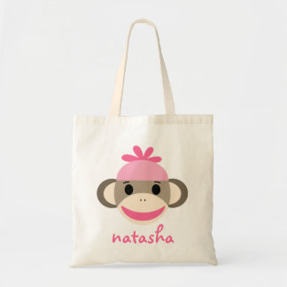 Personalized Sock Monkey Bookbag Canvas Bag