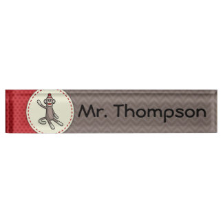 Personalized Sock Monkey Name Plate