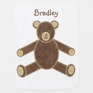 Personalized Soft Brown Teddy Bear Baby Blanket
