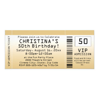 Personalized Soft Gold Custom Birthday Ticket Card