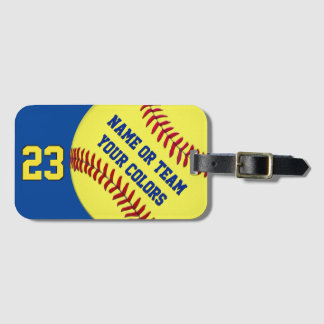Personalized Softball Bag Tags, Your TEXT, COLORS Luggage Tag
