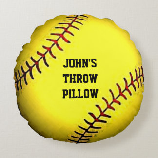 personalized softball gifts round cushion
