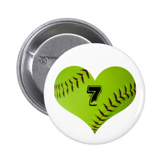 Personalized softball heart 6 cm round badge