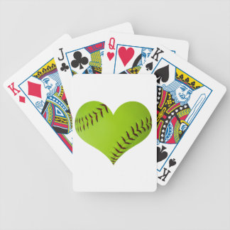 Personalized softball heart bicycle playing cards