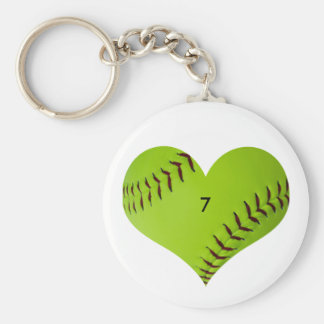 Personalized softball heart key ring