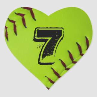 Personalized Softball Heart sticker