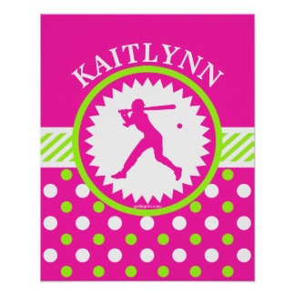 Personalized Softball Pink - Green Polka-Dots Poster
