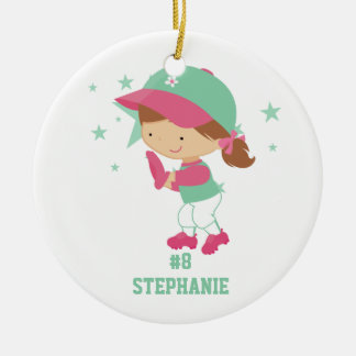 Personalized softball player and stars ornament