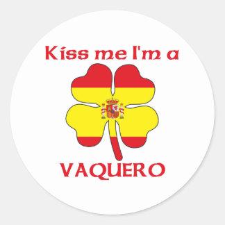 Personalized Spanish Kiss Me I m Vaquero Round Stickers