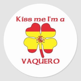 Personalized Spanish Kiss Me I'm Vaquero Round Sticker