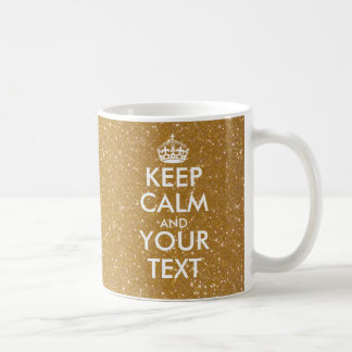 Personalized sparkly gold glitter Keep Calm Mug
