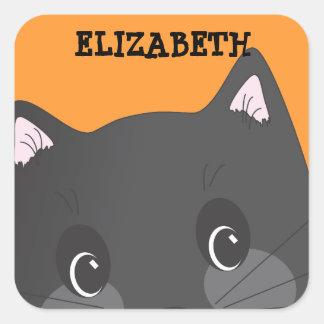 Personalized Spooky Black Cat Halloween Sticker