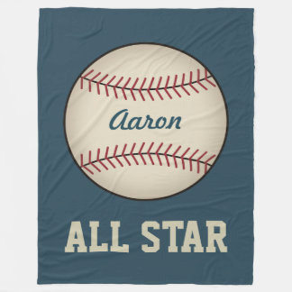 Personalized Sports Blue Baseball Blanket Gift