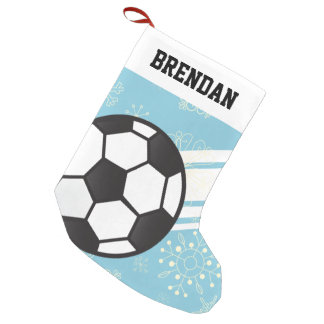 Personalized Sporty Stripes Soccer Ball Light Blue Small Christmas Stocking