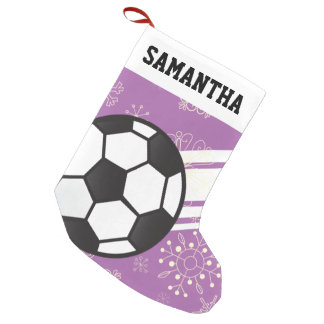 Personalized Sporty Stripes Soccer Ball Purple Small Christmas Stocking