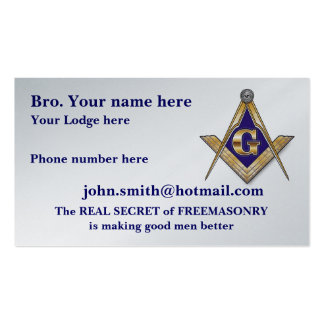 PERSONALIZED SQUARE AND COMPASSES MASONIC BUSINESS CARD