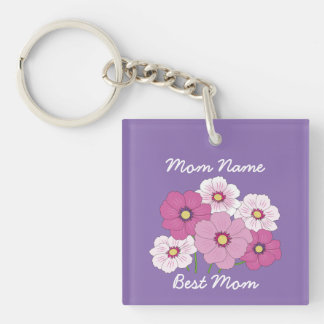 Personalized Square Cosmos Floral Keychain