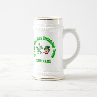 Personalized St Patrick's drinking team 18 Oz Beer Stein