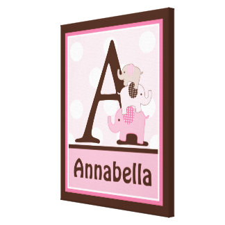 Personalized Stacked Pink Elephants Canvas Art Gallery Wrapped Canvas