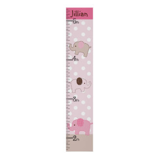 Personalized Stacked Pink Elephants Growth Chart Poster