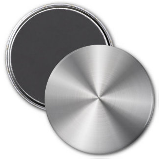 Personalized Stainless Steel Metallic Radial Look 7.5 Cm Round Magnet