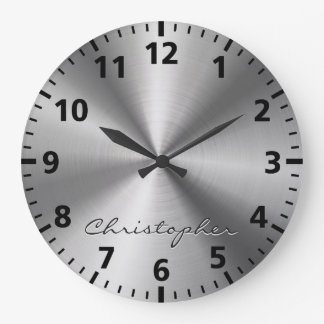 Personalized Stainless Steel Metallic Radial Look Large Clock