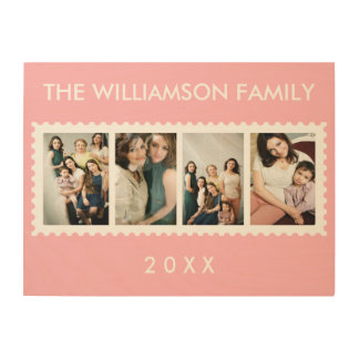 Personalized Stamp Frame 4 Family Photo Pink Wood Prints