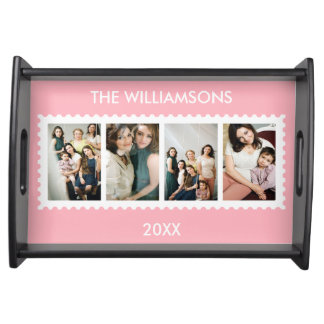 Personalized Stamp Frame 4 Family Photo Serving Tray