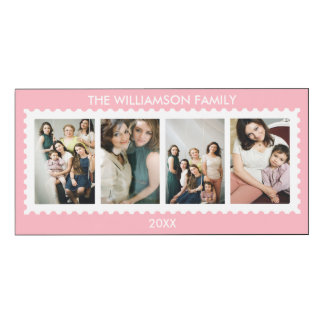 Personalized Stamp Frame Family Photo Pink