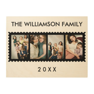 Personalized Stamp Frame Multiple Family Photo Wood Print