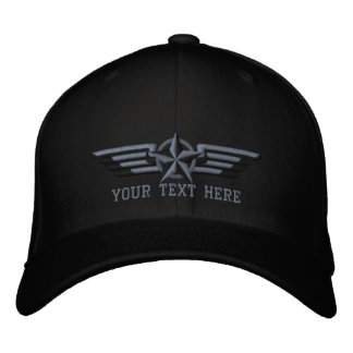 Personalized Star Badge Pilot Wings Embroidered Cap