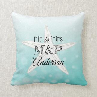 Personalized Starfish Beach House Pillow