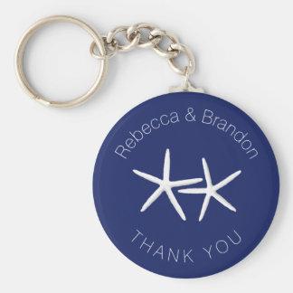 Personalized Starfish Navy Wedding Key Ring Favor Basic Round Button Key Ring