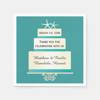 Personalized Starfish Wedding Cake Napkins Disposable Serviette