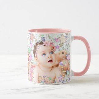 Personalized Starry Baby Photo Pink Coffee Mug