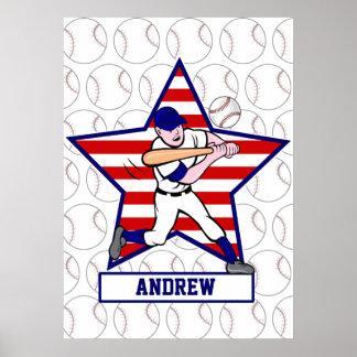 Personalized Stars and Stripes Baseball Batter v1 Poster