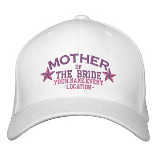 Personalized Stars Mother of the Bride in Pink Embroidered Hat