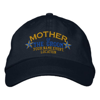 Personalized Stars Mother of the Groom Gold Blue Embroidered Hat