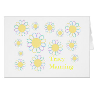 personalized stationery-daisy-flowers card
