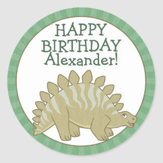 Personalized Stegosaurus Kids Birthday Stickers