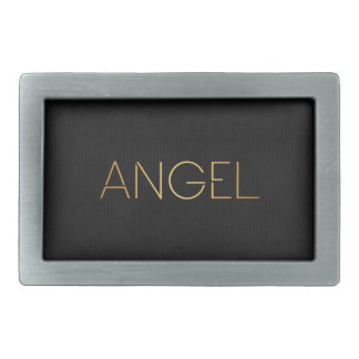 Personalized Stencil Font Angel Gold on Black Rectangular Belt Buckle