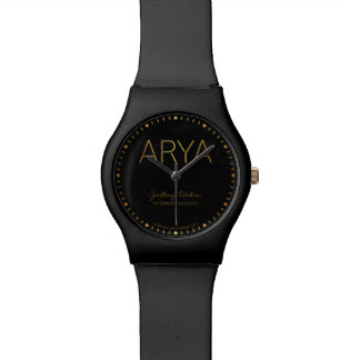 Personalized Stencil Font Arya Gold on Black Watch