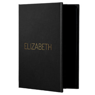 Personalized Stencil Font Elizabeth Gold Black iPad Air Cover