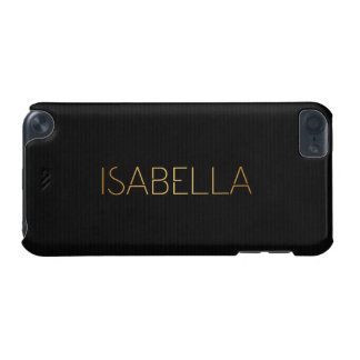 Personalized Stencil Font Isabella Gold Black iPod Touch (5th Generation) Covers