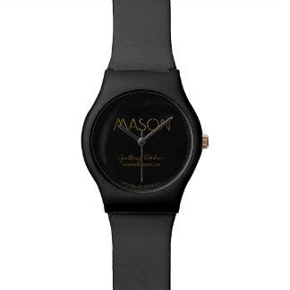 Personalized Stencil Font Mason Gold Black Watch