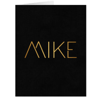 Personalized Stencil Font Mike Gold Black Big Greeting Card