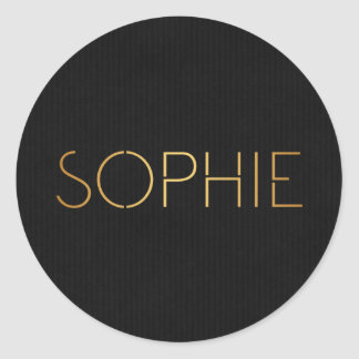 Personalized Stencil Font Sophie Gold Black Round Sticker