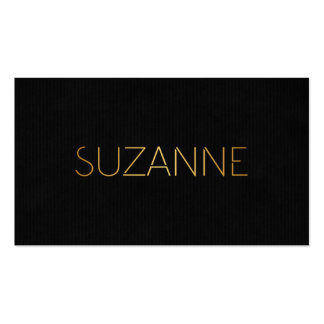 Personalized Stencil Font Suzanne Gold Black Business Cards